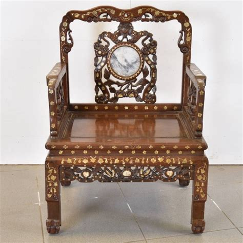 vintage style furniture pair of inlaid chairs with marble inset 6869
