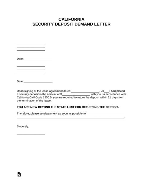 california security deposit demand letter