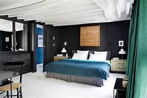 duplex parisien deco retro parquet blanc laque chambre With parquet blanc laqué