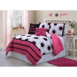 amazon com girls kids bedding amy comforter set black white fuchsia twin childrens