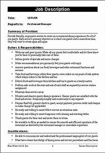 Restaurant job description templates f b pinterest for Samples of job descriptions templates
