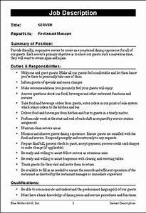 Restaurant Job Description Templates | F & B | Pinterest ...