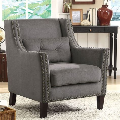 grey accent chair w nailhead trim and pillow coaster