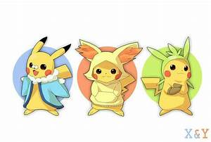 Pikachu dressed up as the starters in x & y. I think he is ...