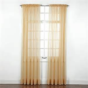 buy elegance sheer 84 inch window curtain panel in gold from bed bath beyond