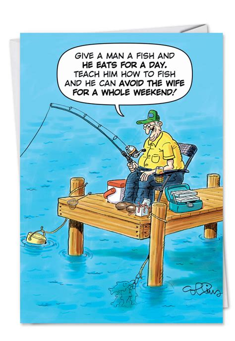 Old Fisherman Joke: Funny Birthday Father Paper Greeting Card