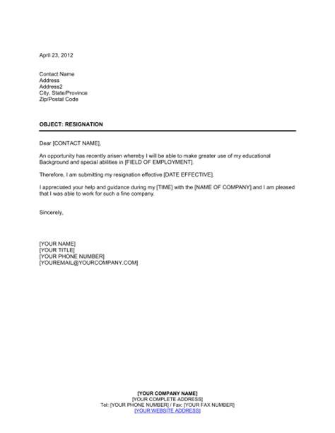 resignation template sample form biztreecom