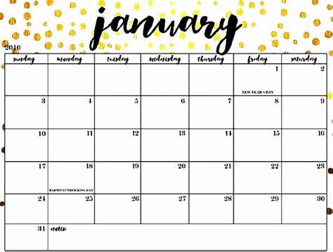 cute january  calendar floral design january