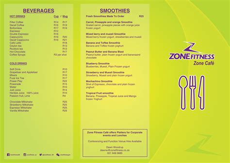 Receive special offers and deals through our app. Zone Fitness Bellville Restaurant and Coffee Shop - ZoneFitness