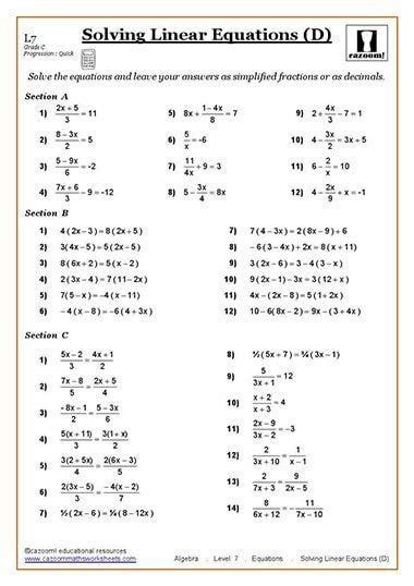 solving equations maths worksheet geeky pinterest