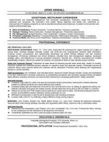 restaurant supervisor resume exle restaurant supervisor resume sle