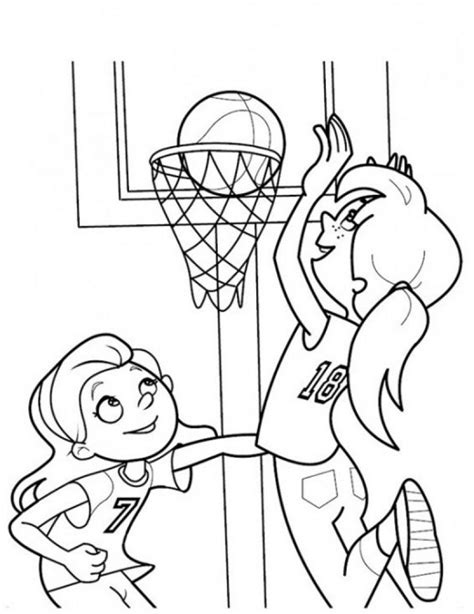 girls playing basketball coloring page sports coloring