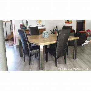 table de salle a manger 4 pieds metal sapin massif m With table de salle a manger style industriel