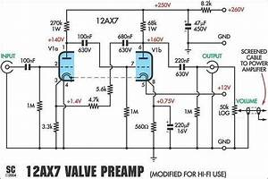 12ax7 preamplifier schematic schema pinterest tube With electric guitar preamplifier circuitsprojects