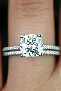How to buy cushion cut engagement rings traditional with for Cushion cut engagement rings with wedding band