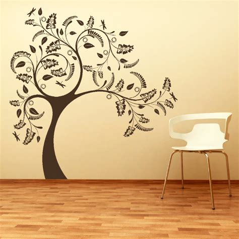 wall stencil designs large tree with floral design wall sticker