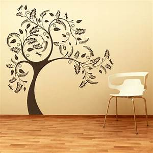 large tree with floral design wall sticker With good look big tree decals for walls