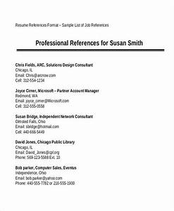 Free 7  Professional Reference List Samples In Ms Word
