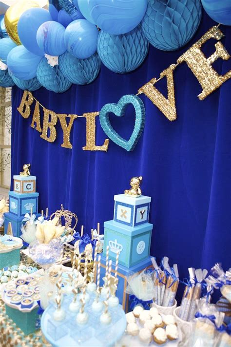 royal blue prince baby shower main table projects