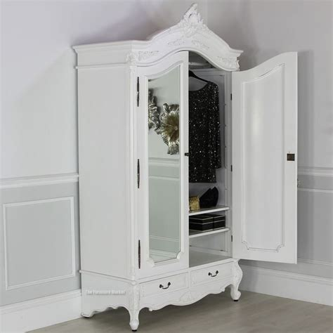 White Armoire With Mirrored Door by Chateau White Painted 2 Door Mirrored Armoire