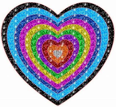 Glitter Heart Rainbow Hearts Animated Coloured Graphics
