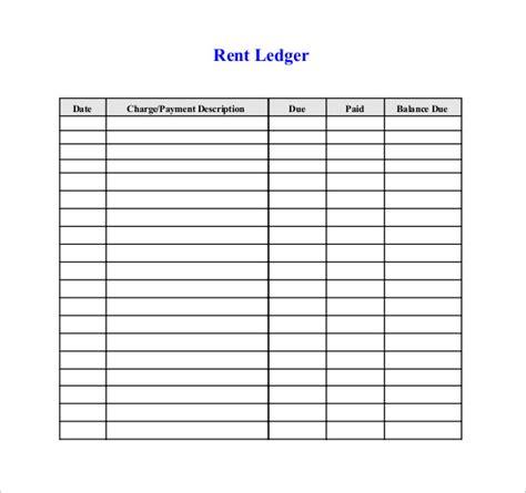 printable ledger template rent receipt format print paper templates