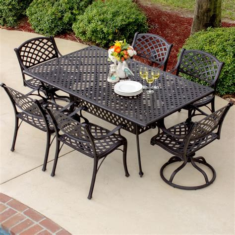 heritage 6 person cast aluminum patio dining set with 2