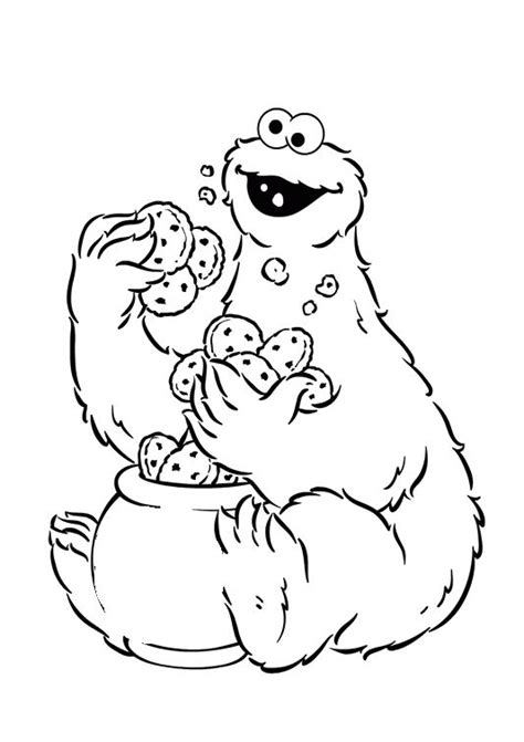 Cookie Monster Holding A Lot Of Cake Coloring Pages