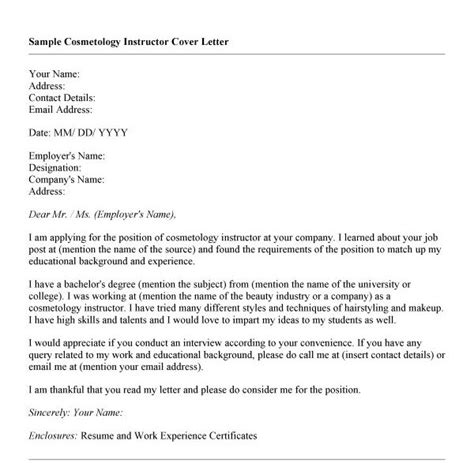 cover letter for cosmetology resume resume ideas