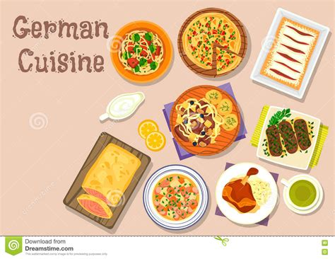 german cuisine menu german cuisine lunch icon for menu design stock vector