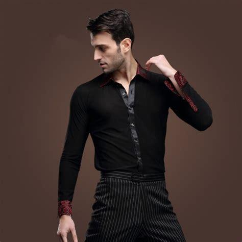 Men long sleeve shirt Latin dance costume Ballroom Latin Dance Tops shirts