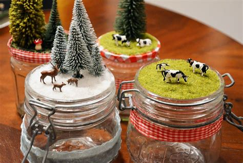 selbstgemachte geschenke weihnachten einmachgl 228 ser mit kleinen landschaften ein kleines