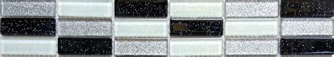Black Silver & White Glitter Glass Mosaic Wall Tile Strips