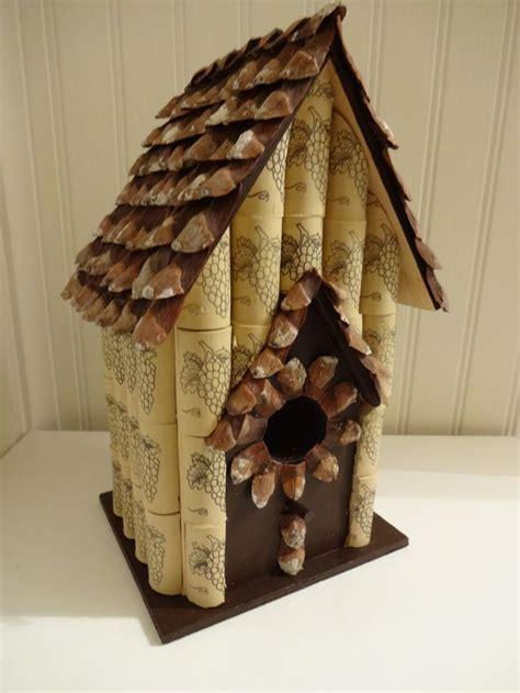 bird house  wine corks pine cone petal roof