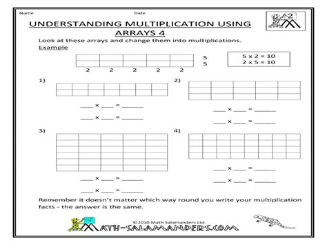teaching multiplication using arrays worksheets repeated