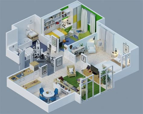 Apartment Designs Shown With Rendered 3d Floor Plans