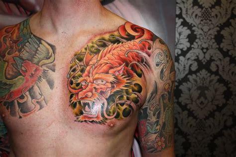 koi fish dragon tattoo  chest awesome