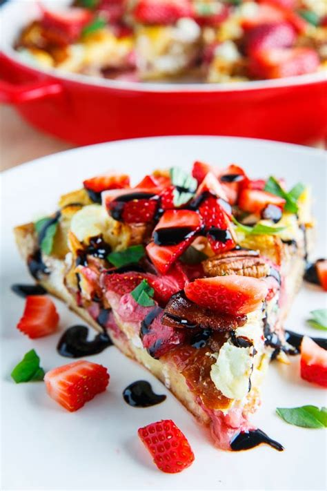 strawberry bacon and goat cheese strata with balsamic