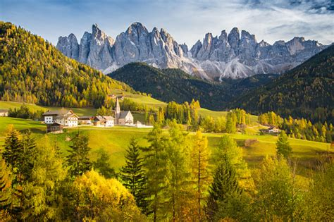Val Di Funes In The Dolomites At Sunset South Tyrol Italy