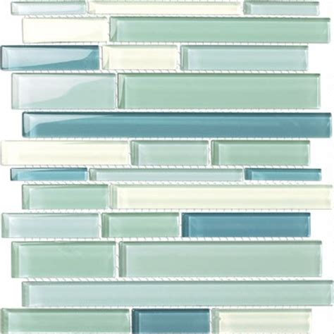 glossy sky blue mix glass stick mosaic tile mesh backed sheet