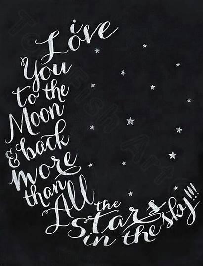 Moon Chalkboard Words Tattoo Nursery Word Prints