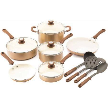 trisha yearwood precious metals aluminum  stick ceramic  piece cookware set walmartcom