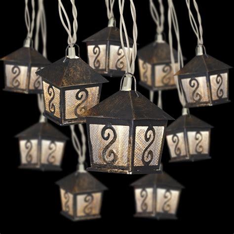 hanging light string metal lanterns