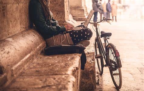 Black and brown wooden wall mount rack, road, billboard 3456x5184px. Wallpaper city, girl, bike, loneliness, social life images for desktop, section настроения ...