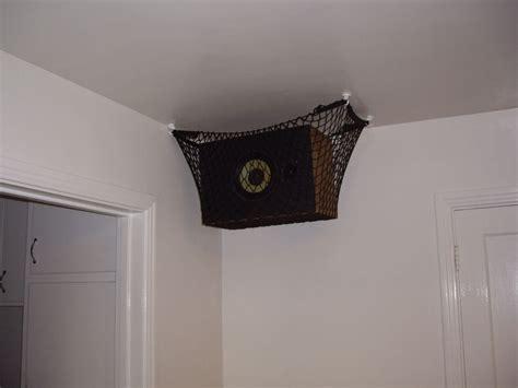 hang speakers   ceiling  cargo net