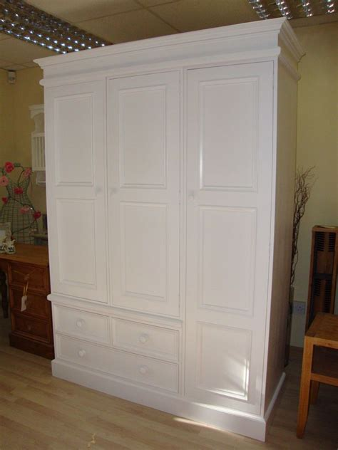 Large Wardrobes For Sale by Solid Pine Large 3 Door Handmade White Painted
