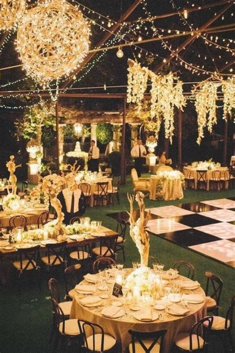the great gatsby wedding inspiration outdoor reception