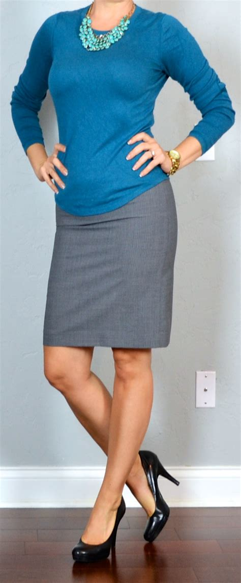 Outfit post blue sweater teal necklace grey pencil skirt | Outfit Posts