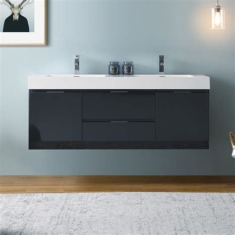 corner kitchen sinks for fresca valencia 60 quot slate gray wall hung sink 8360