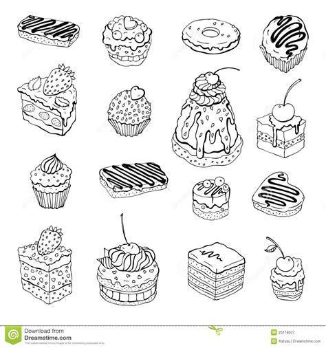 set  cute cake contour illustration royalty  stock photography image